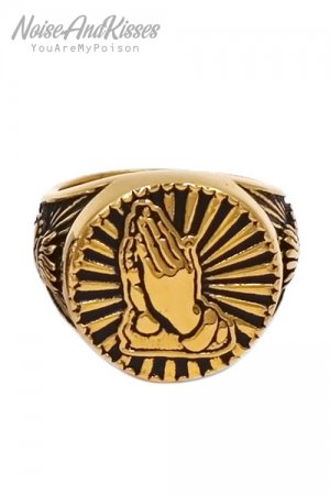 Praying Hands Stainless Steel Ring (Gold)