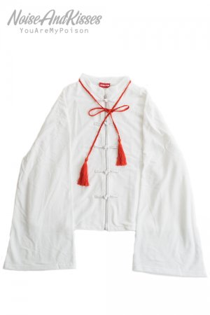 ACDC RAG Tassel China Zipper Blouson Top (White)