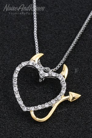 Devil Heart Necklace (Silver)