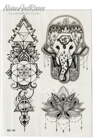 Tattoo Sticker Sheet (Elephant)