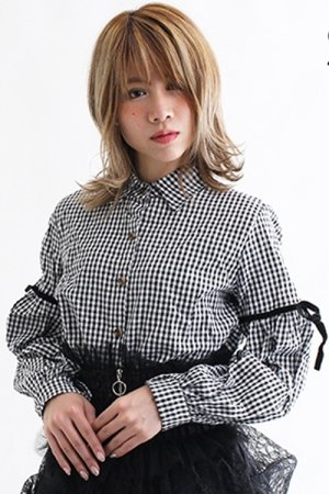 Gingham Check Ribbon Line Shirt (Black)