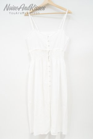 Sheer Shirring Camisole Dress (White)