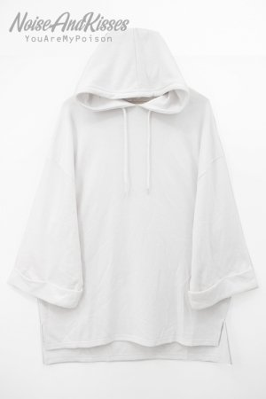 Roll Up Sleeve Oversized S/S Hoodie(White)