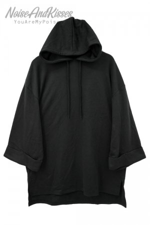 <img class='new_mark_img1' src='https://img.shop-pro.jp/img/new/icons8.gif' style='border:none;display:inline;margin:0px;padding:0px;width:auto;' />Roll Up Sleeve Oversized S/S Hoodie(Black)