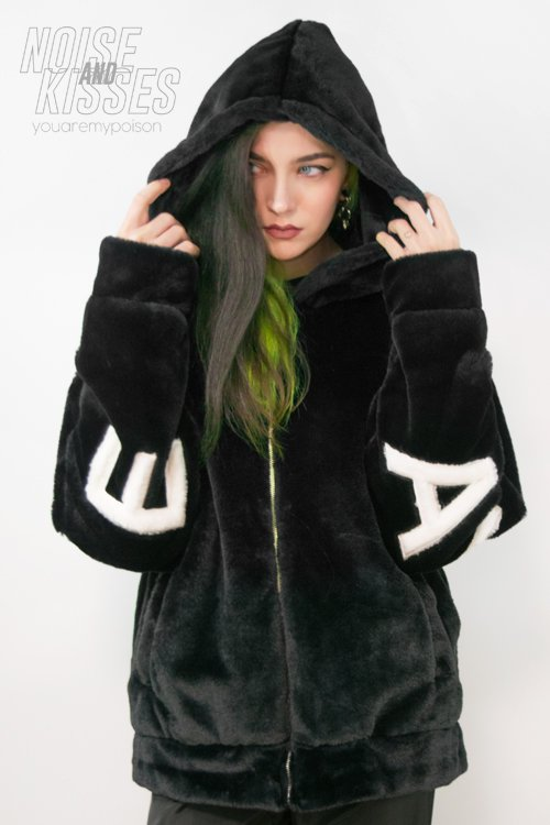 Big Fur AWESOME Hoodie Jacket (Black)