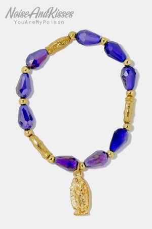 Virgin Mary Bead Bracelet (Purple)