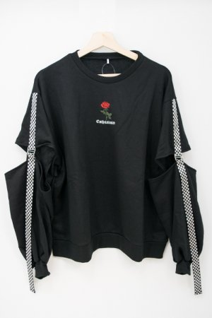 Rose Embroidery Checker Tape Pullover (Black)