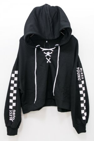 Checker Sleeve Lace Up Hoodie (Black)