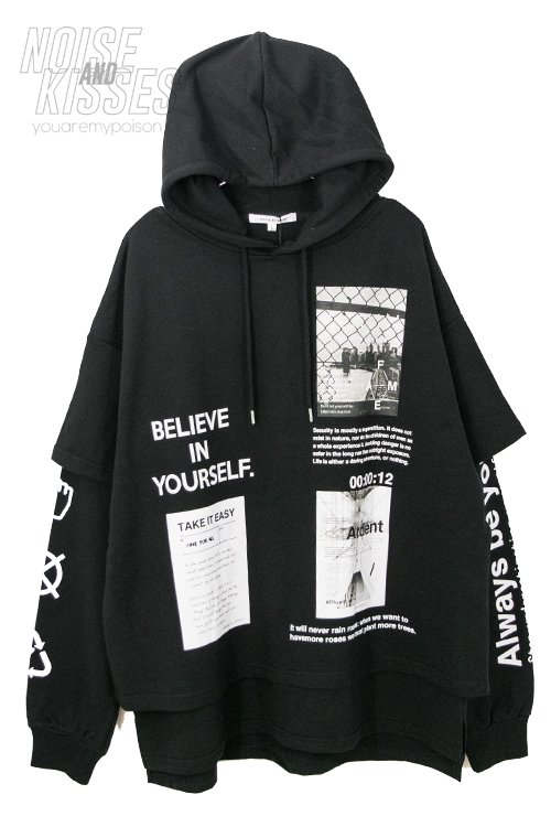 <img class='new_mark_img1' src='https://img.shop-pro.jp/img/new/icons56.gif' style='border:none;display:inline;margin:0px;padding:0px;width:auto;' />Mens Fake Layered Printed Hoodie (Black)