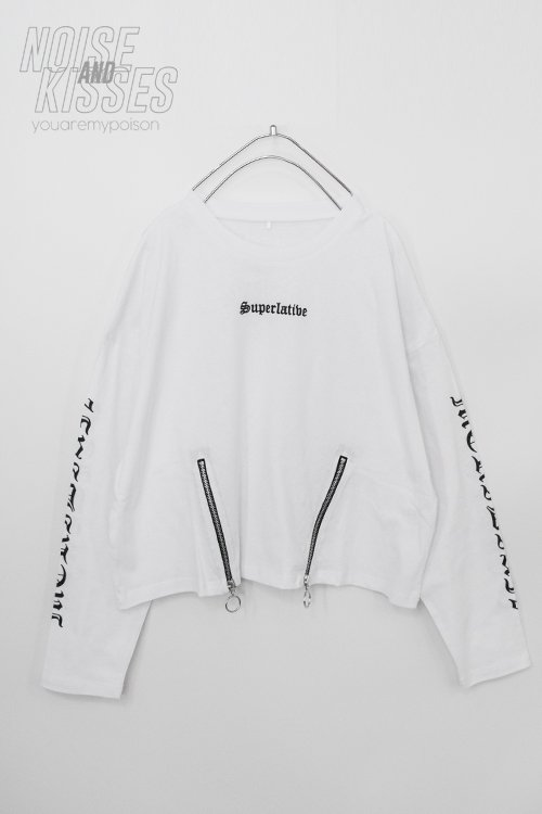 <img class='new_mark_img1' src='https://img.shop-pro.jp/img/new/icons8.gif' style='border:none;display:inline;margin:0px;padding:0px;width:auto;' />Zipper Logo Sleeve Top (White)