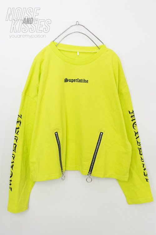 <img class='new_mark_img1' src='https://img.shop-pro.jp/img/new/icons8.gif' style='border:none;display:inline;margin:0px;padding:0px;width:auto;' />Zipper Logo Sleeve Top (Lime)