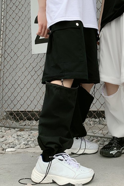 <img class='new_mark_img1' src='https://img.shop-pro.jp/img/new/icons56.gif' style='border:none;display:inline;margin:0px;padding:0px;width:auto;' />2way Zipper Separate Pants (Black)
