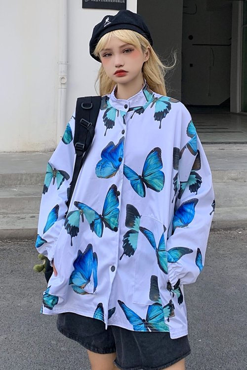 <img class='new_mark_img1' src='https://img.shop-pro.jp/img/new/icons8.gif' style='border:none;display:inline;margin:0px;padding:0px;width:auto;' />Blue Butterfly Reversible L/S Jacket (White)