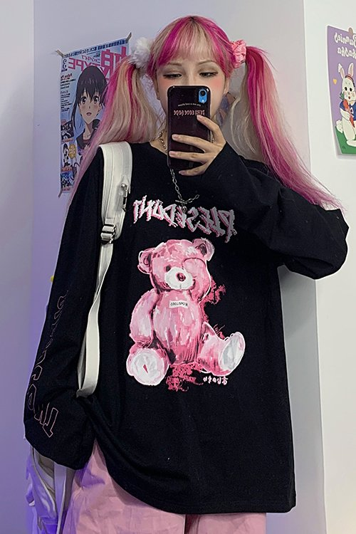 <img class='new_mark_img1' src='https://img.shop-pro.jp/img/new/icons8.gif' style='border:none;display:inline;margin:0px;padding:0px;width:auto;' />Pop Teddy L/S T-shirt (Black)