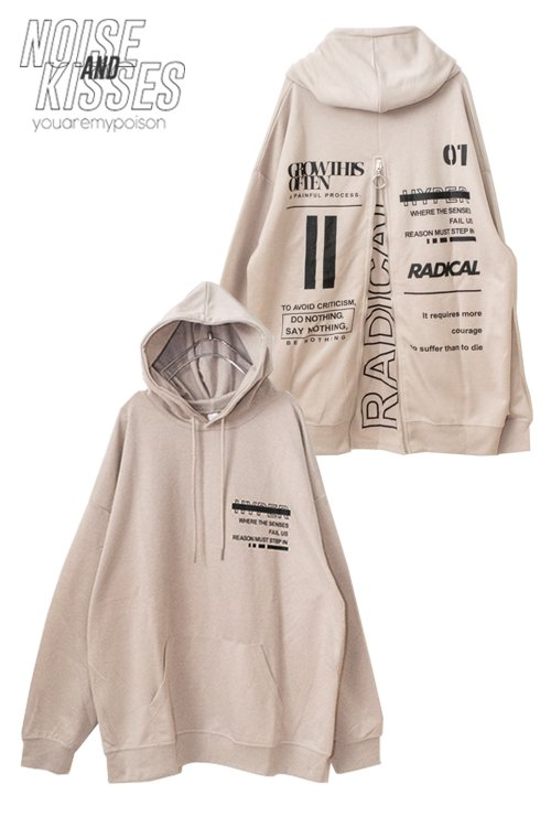 <img class='new_mark_img1' src='https://img.shop-pro.jp/img/new/icons8.gif' style='border:none;display:inline;margin:0px;padding:0px;width:auto;' />Back Zipper Logo Mens Hoodie (Beige)