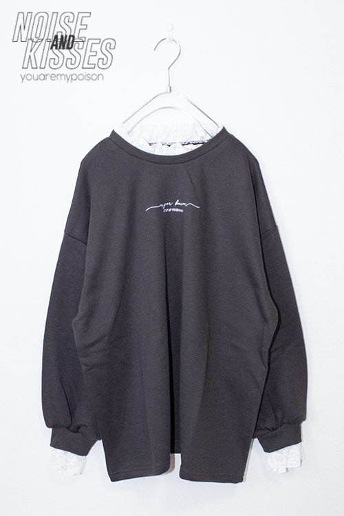 <img class='new_mark_img1' src='https://img.shop-pro.jp/img/new/icons8.gif' style='border:none;display:inline;margin:0px;padding:0px;width:auto;' />Lace Collar Sweatshirt (Charcoal)