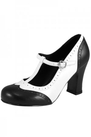 TUK 3 3/8 Inch Chunky Heel Black and White Wingtip T Strap Pump(A7328L)