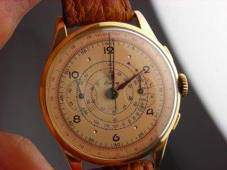 ヴィンテージ ブライトリング クロノグラフ腕時計 18Kゴールドケース 17ジュエル