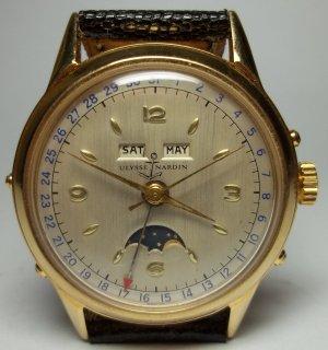ユリスナルダン 男性用自動巻き腕時計 トリプルカレンダー、ムーンフェイズ機能付き