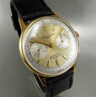 BAUME & MERCIER ボーム&メルシエ クロノグラフ 金文字盤 大型腕時計