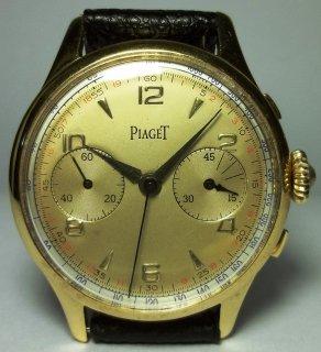 ピアジェ(PIAGET) ヴィンテージ 手巻き ツートーン・ダイヤル クロノグラフ メンズウォッチ 1940年代