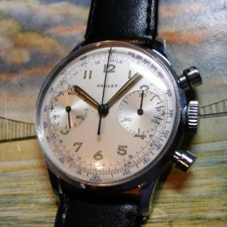 ヴィンテージ品 紳士用 ギャレット ステンレススチール クロノグラフ( Gallet Stainless Steel Chronograph)1940年代