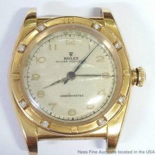 ロレックス(ROLEX)ヴィンテージ 18Kゴールド&ダイヤモンド バブルバック クロノメーター クロノグラフウォッチ 1940年代
