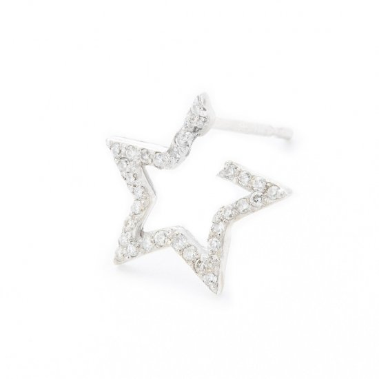 karma pierced earring / small falling star×diamond