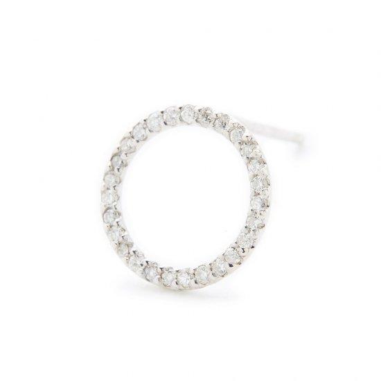 circle pierced earring / small×diamond