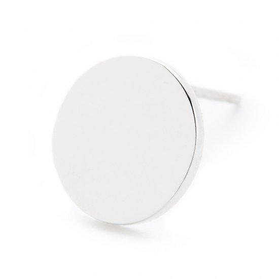 flat charm  pierced earring / full moon