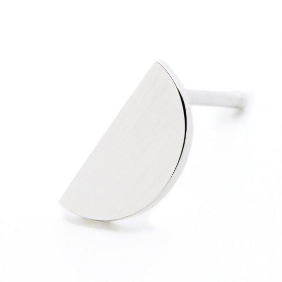 flat charm  pierced earring / half moon