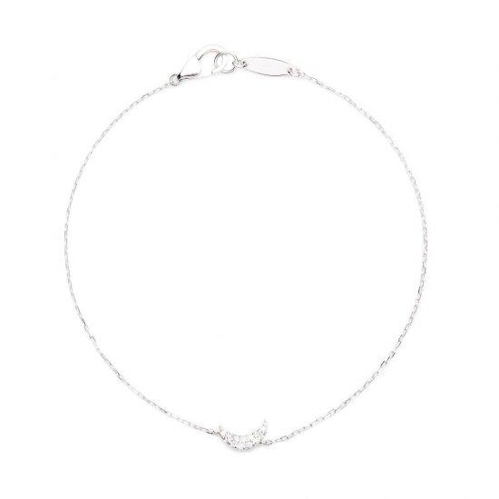 flat charm bracelet / crescent×diamond