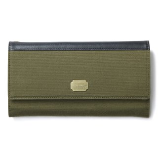 CRIMIE 「MILITARY FABRIC LONG WALLET」 ミリタリーファブリックレザーコンビロングウォレット ■KHAKI