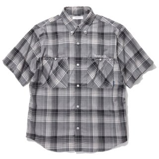 RADIALL 「COMPTON - REGULAR COLLARED SHIRT S/S」 半袖チェックシャツ ■COOL BLK