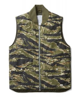 BACK SATAIN THINSULATE CAMO ZIP VEST