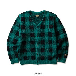 SOFTMACHINE PLAID MOHAIR CARDIGAN  GREEN