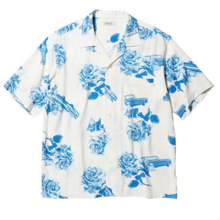 RADIALL CHEVY ROSE - OPEN COLLARED SHIRT S/S WHITE