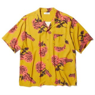 RADIALL CHEVY ROSE - OPEN COLLARED SHIRT S/S MUSTARD
