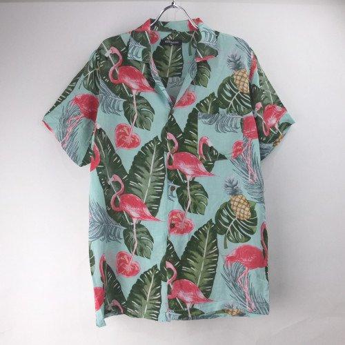 レーヨン ハワイアンシャツ #4 フラミンゴ  GR (L)【メール便可】 新品