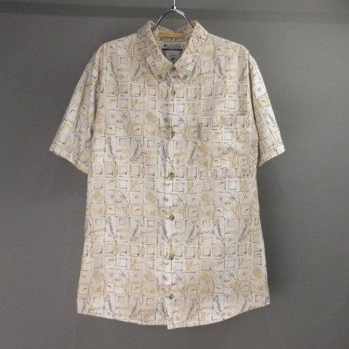 コロンビア 釣り柄 半袖ボタンダウンシャツ ハワイアン  リサイズ【メール便可】