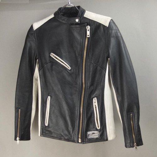 ECHTES LEDER   黒白 WOMAN'S ライダース レザージャケット(sale商品)