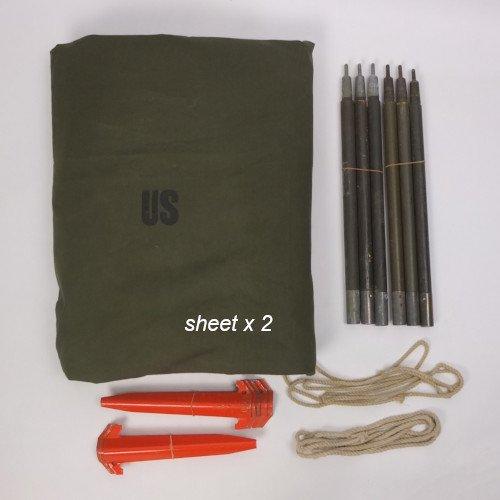 米軍 パップテント シェルター ハーフ 2セット ・ 60's シート2枚 ポール6本(2セット) ペグ10本 ロープ2本 軍幕