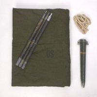 米軍 パップテント シェルター ハーフ セット #17・  シート1枚 ポール3本(1セット) ペグ5本 ロープ1本 軍幕