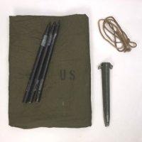 米軍 パップテント シェルター ハーフ セット #18・  シート1枚 ポール3本(1セット) ペグ5本 ロープ1本 軍幕