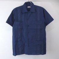 (NVY/XL)  Chic Elegant  キューバシャツ(新品)【メール便可】
