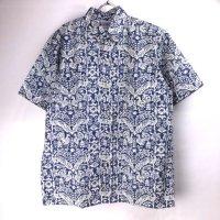 (L) レインスプーナー  アロハシャツ ピーコック NAVY ハワイ製デッドストック