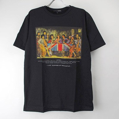 (M/ブラック) 最後の晩餐 ロックスター Tシャツ(新品)【メール便可】