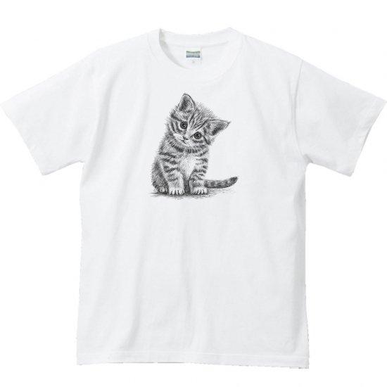 子猫(デッサン風 子ネコ)/半袖Tシャツ