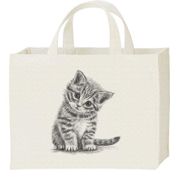子猫(デッサン風 子ネコ)/キャンバス トート バッグ・スクエア