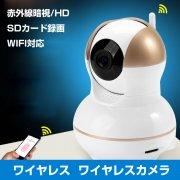 防犯カメラ ワイヤレス SDカード録画 スマホ対応  監視カメラ マイク/スピーカー IPカメラ 赤外線暗視/HD 1280 x 720/高画質 WIFI対応 IPC-012G-L60225